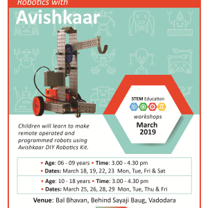 Robotics With Avishkaar (@Bal Bhavan, Karelibaug)  March 2019