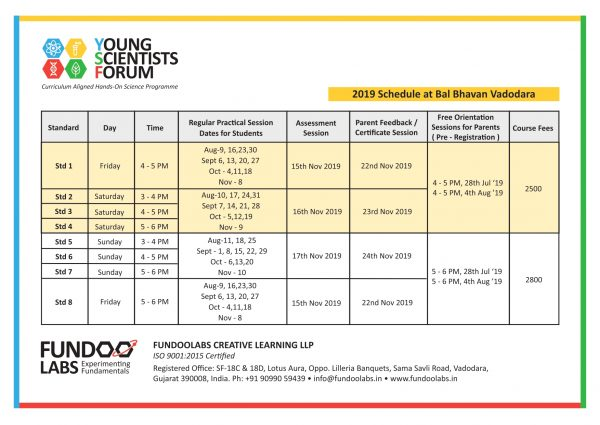 YSF Schedule