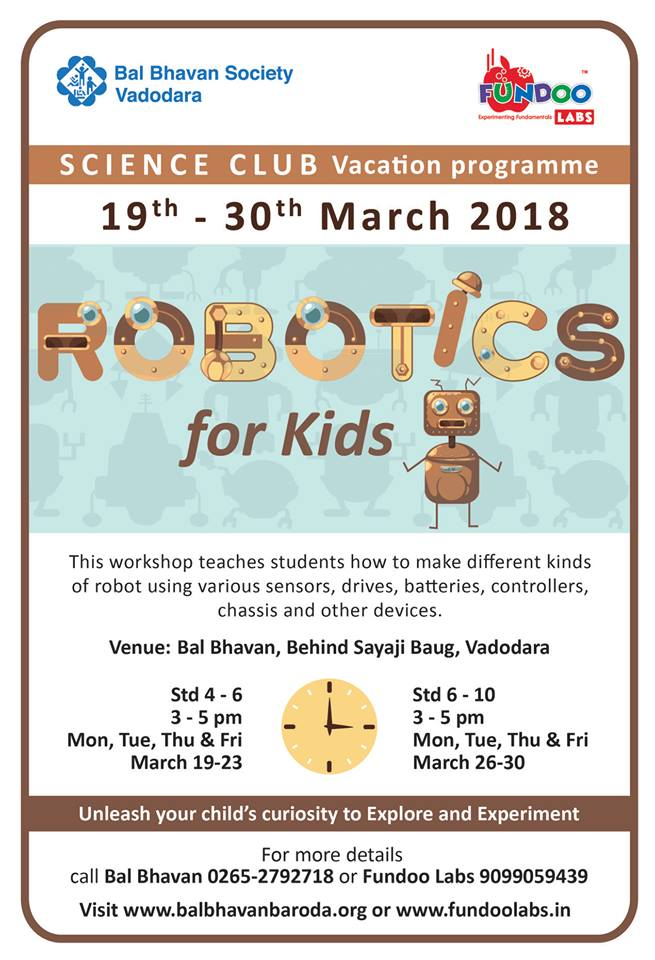 Robotics For Kids @Bal Bhavan, Karelibaug