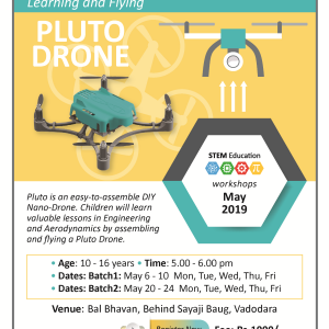 Learning And Flying A PLUTO DRONE  (@Bal Bhavan, Karelibaug)  May 2019
