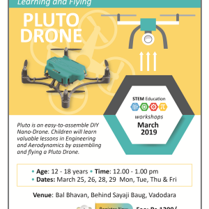 Learning And Flying A PLUTO DRONE  (@Bal Bhavan, Karelibaug)  March 2019