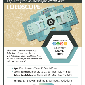 Exploring The Microscopic World With FOLDSCOPE (@Bal Bhavan, Karelibaug)  March 2019