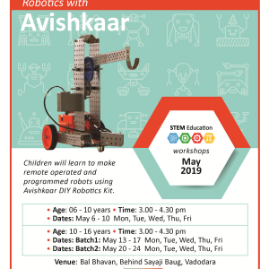 Robotics With Avishkaar (@Bal Bhavan, Karelibaug)  May 2019