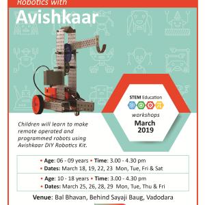 Robotics With Avishkaar (@Bal Bhavan, Karelibaug)  March 2019